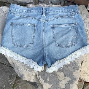 Free People Shorts - Free People Denim / Jean Shorts with Lace Trim 29
